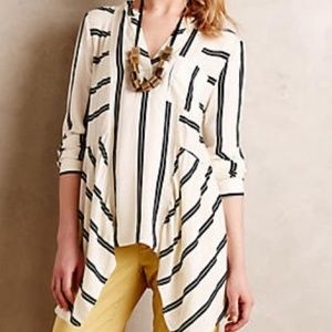 Anthropologie Maeve Laiken Asymmetric Stripe Tunic
